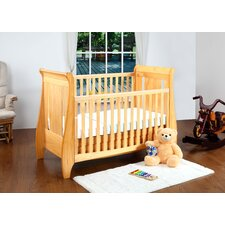 Lucas Sleigh Dropside Cot Bed with Drawer in Oak