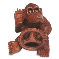 <strong>Novica</strong> Chimp at the Wheel Figurine