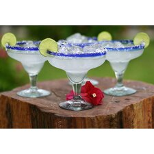 Javier and Efren Artisan Happy Hour Hand Blown Margarita Glass (Set of 4)