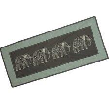 Thanyarat Sananpanich Artisan Four Floral Elephants Cotton Table Runner