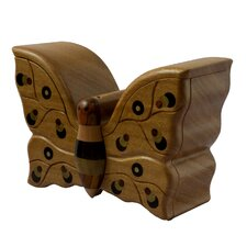 Butterfly Treasures Francisco Mendoza Artisan Mahogany Puzzle Box