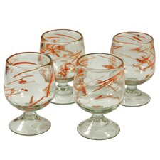 Cantel Blown Glass Artisans Sunset Wind  Glass Goblets (Set of 4)