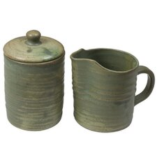 Pro Rehabilitation Group Artisan Ceramic Sugar Bowl and Creamer