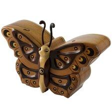 Salvador Petzey Artisan Atitlan Butterfly Mahogany Puzzle Box