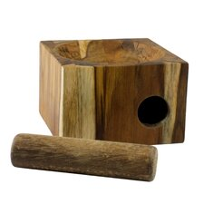 Jan and Maria Jose Artisan Cubic Nature Teakwood Mortar And Pestle