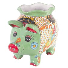 Castillo Family Artisan Spring Piggy Ceramic Flower Pot