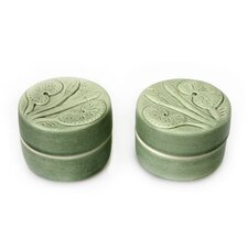 <strong>Novica</strong> Putu Oka Mahendra Artisan Lotus and Dragonfly Ceramic Jewelry Boxes (Set of 2)