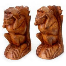 Speak No Evil Monkey Wood Book Ends (Set of 2)