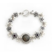 The Buana Artisan Cultured Pearl and Labradorite Angelic Flower Bracelet