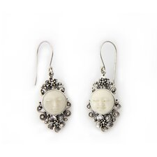 <strong>Novica</strong> The Buana Artisan Cow Bone Frangipani Moon Flower Earrings