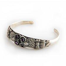 The Nyoman Rena Artisan Amethyst Twin Owls Cuff Bracelet