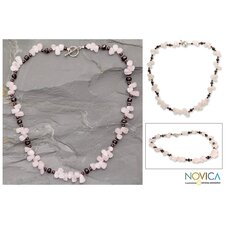 The Narayani Artisan Garnet and Rose Quartz Love Song Strand Necklace
