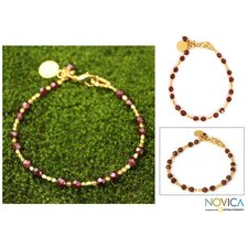 The Khun Boom Artisan Gold Plated Garnet Divine Deva Beaded Bracelet