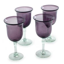 The Javier and Efren Blown Glass Goblet (Set of 4)
