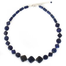 The Anusara Sterling Silver Lapis Lazuli Beaded Necklace