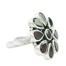 The Neeru Goel Sterling Silver Garnet Flower Ring