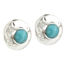 The Carlos Gonzalez Amazonite Button Earrings