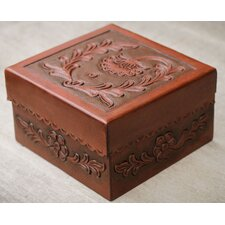 <strong>Novica</strong> The Abel Rios Leather and Mohena Wood Jewelry Box