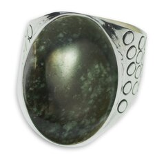 The Zandra Lorena Sajbin Men's Sterling Silver Jade Ring