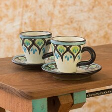 <strong>Novica</strong> The Roberto Perez Ceramic Cup and Saucer (Set of 2)