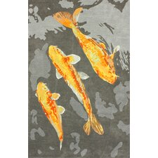 Tulon Grey Gold Fish Rug
