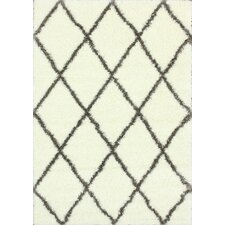 Shaggy Brown Trellis Shag Rug