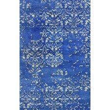 Filigree Blue Faded Trellis Area Rug