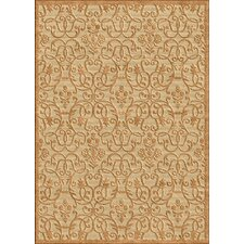 Veranda Swirly Leaves Sand/Fawn Rug