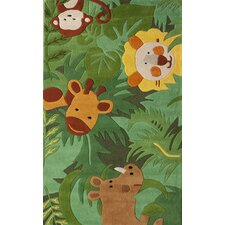 Kinder Safari Friends Green Area Rug