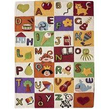 Kinder Alphabet Expressions Area Rug