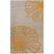 Gradient Yellow Floral Area Rug