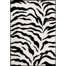 Earth Zebra Print Black&Ivory Area Rug