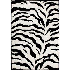 Earth Zebra Print Black/Ivory Area Area Rug