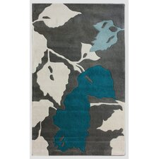 Bella Leaves Grey & Blue Area Rug