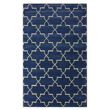 Bella Marrakesh Moroccan Trellis Blue Rain Rug