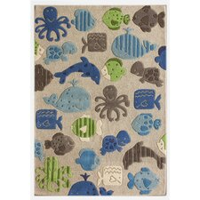 KinderLOOM Ocean World Grey Kids Rug