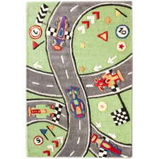 <strong>nuLOOM</strong> KinderLOOM Race Track Green Kids Rug