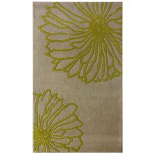 Gradient Green Floral Area Rug