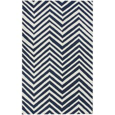 Trellis Navy Blue Chevron Rug