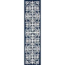 Chelsea Damask Moroccan Trellis Navy Blue Rug