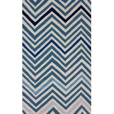Cine Blue Chevron Area Rug
