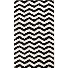 Shag White/Black Plush Area Rug