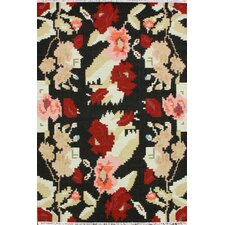 Texture Black Flowers Area Rug