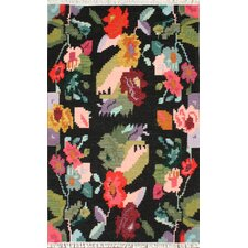 Marion Black Multi Blossoms Kilim Rug