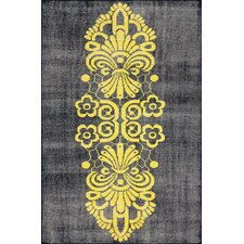 Overdye Yellow Tribal Damask Rug