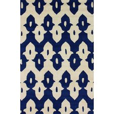 Moderna Regal Blue Ikat Trellis Rug