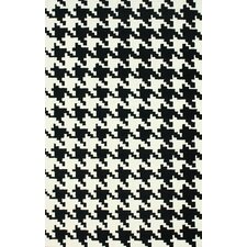 Trellis Black Houndstooth Area Rug