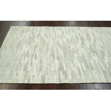 Hides Off White Patches Striped Area Rug