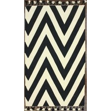 Flatweave Black/White Wave Border Area Rug