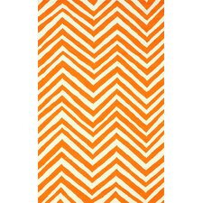 Veranda Orange Chevron Area Rug